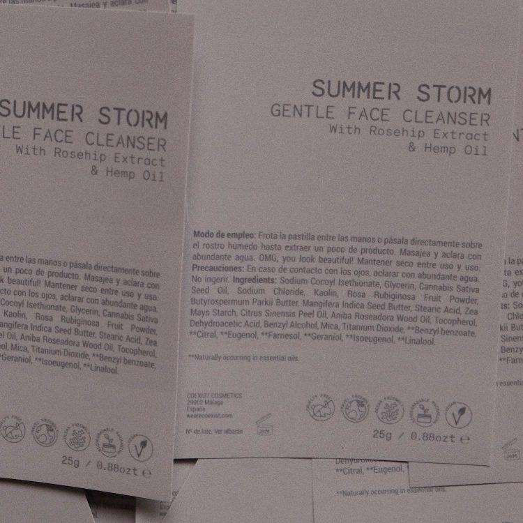summer storm etiqueta vegana biodegradable coexist